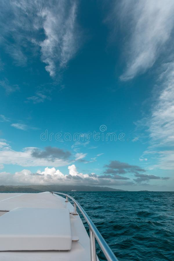 View of the horizon over the bow royalty free stock photography