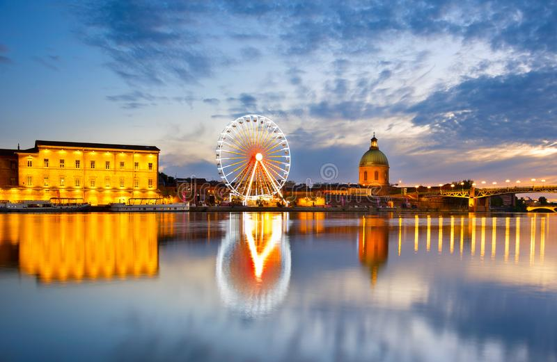 Ferries Wheel river. Toulouse, France stock images