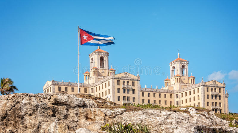 View of Hotel Nacional with Cuban Flag -Havana, Cuba royalty free stock photo