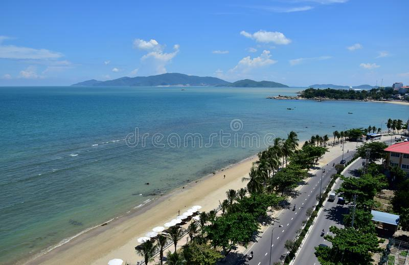 View from the hotel to Nha Trang beach Vietnam royalty free stock images