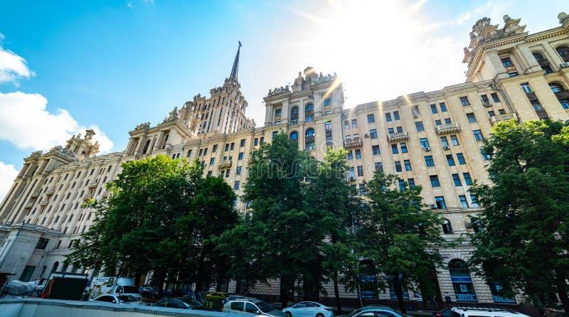View of `hotel Ukraine`  from Taras Shevchenko embankment. City the Moscow .view of `hotel Ukraine` from Taras Shevchenko embankment.Russia.2019 royalty free stock photography