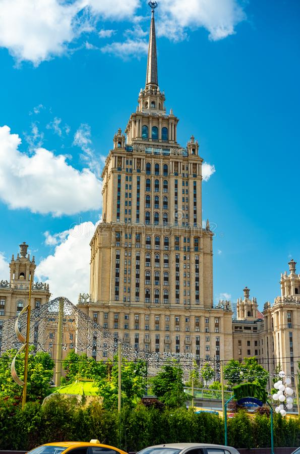 View of `hotel Ukraine`  from Taras Shevchenko embankment.Russia. City the Moscow .view of `hotel Ukraine` from Taras Shevchenko embankment.Russia.2019 royalty free stock photos