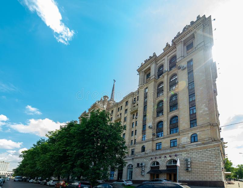 View of `hotel Ukraine`  from Taras Shevchenko embankment.Russia. City the Moscow .view of `hotel Ukraine` from Taras Shevchenko embankment.Russia.2019 stock photography