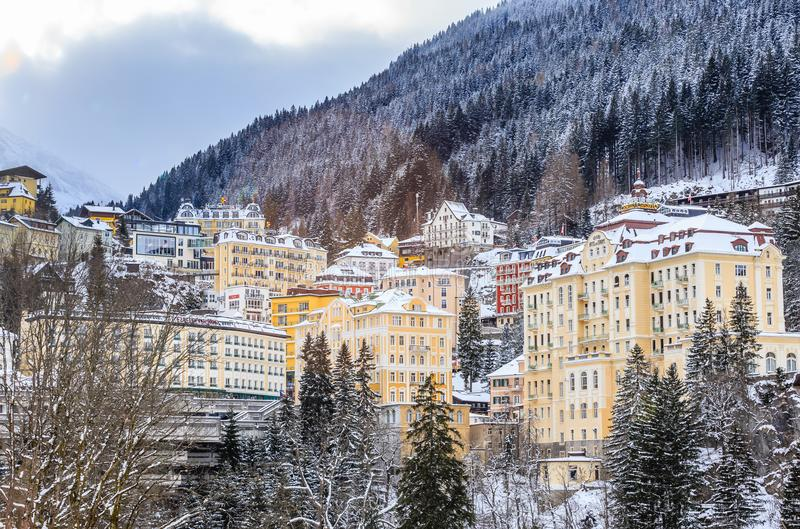 View of hotels in the austrian spa and ski resort Bad Gastein. Austria stock photography