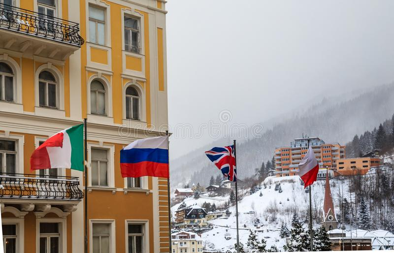 View of hotels in the austrian spa and ski resort Bad Gastein. Austria royalty free stock photo