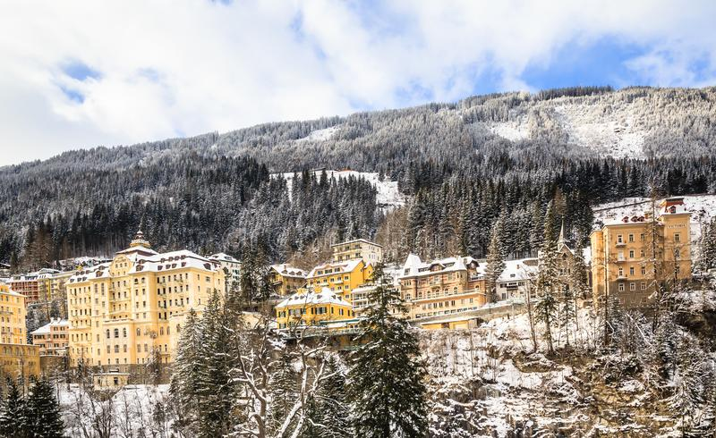 View of hotels in the austrian spa and ski resort Bad Gastein. Austria royalty free stock image