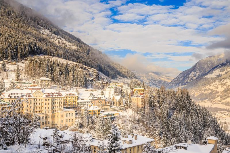 View of hotels in the austrian spa and ski resort Bad Gasteinl,. Austria royalty free stock photography