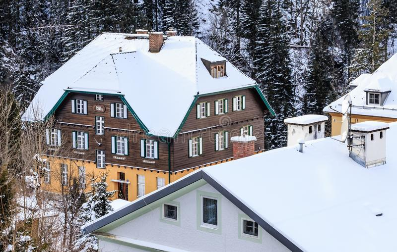 View of hotels in the austrian spa and ski resort Bad Gasteinl. Austria stock photos