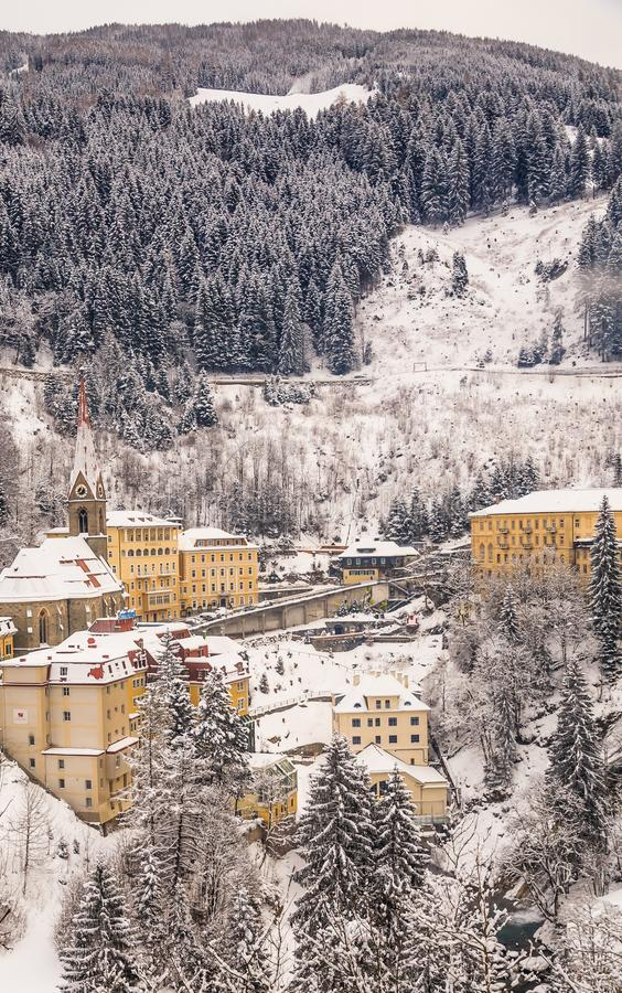 View of hotels in the austrian spa and ski resort Bad Gasteins. View of hotels in the austrian spa and ski resort Bad Gastein, Austria royalty free stock photo