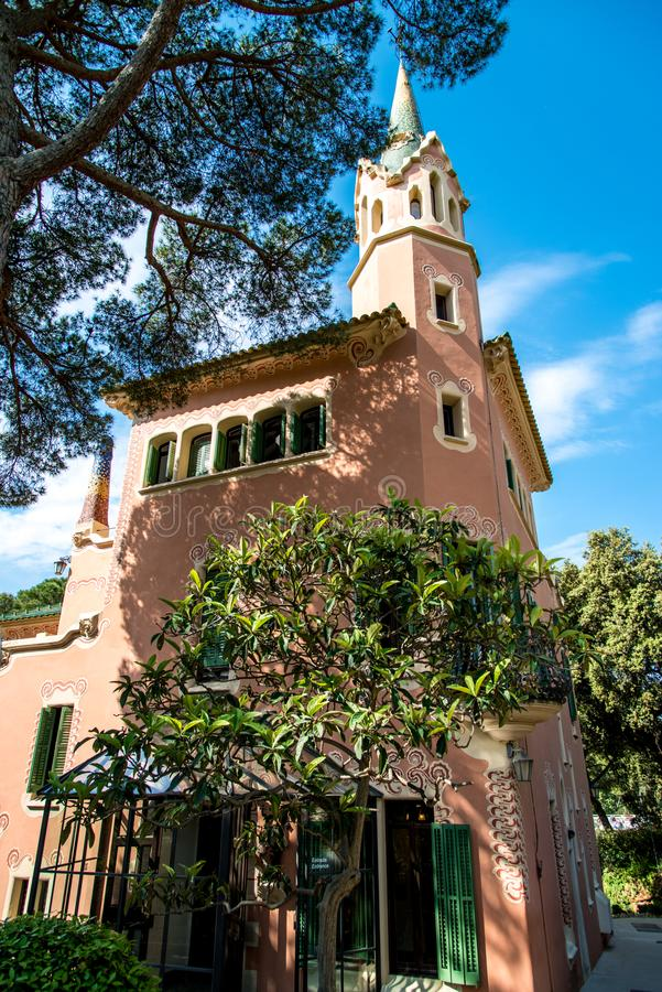 View of the house - the museum of Antoni Gaudi in Park Guell, Ba stock photos