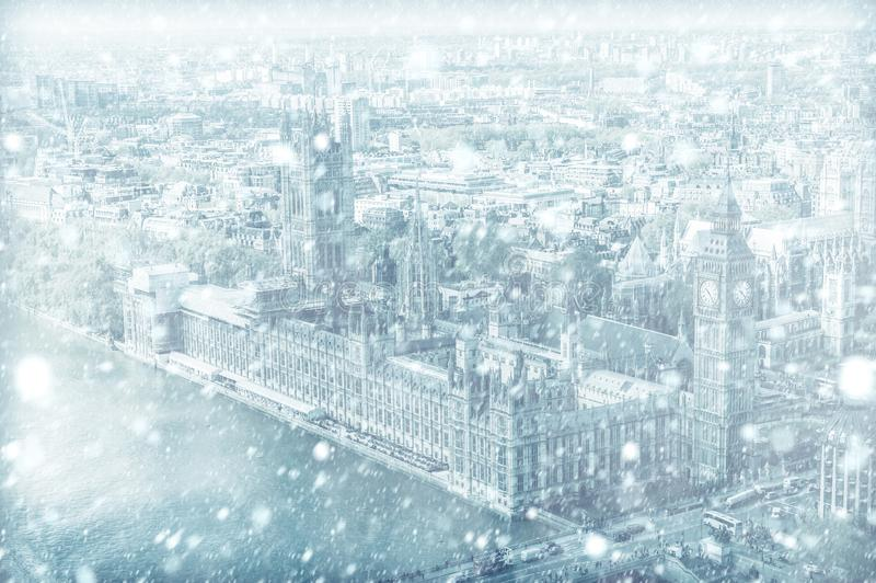 View of House of Parliament in London with snow royalty free stock photo