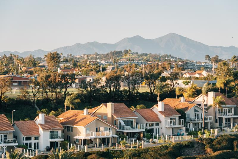 View of houses and hills from Hilltop Park in Dana Point, Orange County, California royalty free stock photo