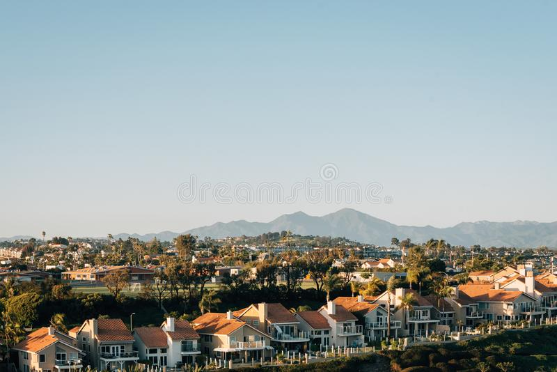 View of houses and hills from Hilltop Park in Dana Point, Orange County, California.  royalty free stock image