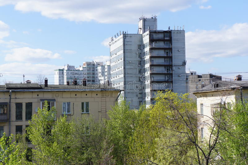 View of the houses in late spring in the area of Academic in Moscow stock photography
