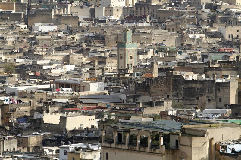 View of the houses of the Medina of Fez in Morocco. Where the inhabitants live in an intense density. Many of the houses have their television antenna on the