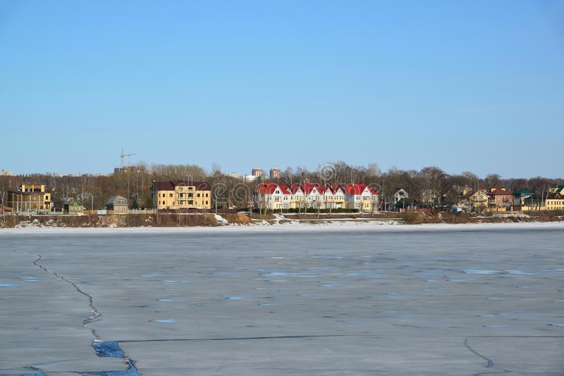 View of houses on shore Volga River in Yaroslavl, Russia royalty free stock photography