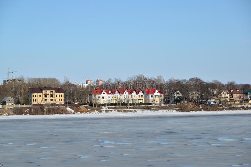 View of houses on shore Volga River in Yaroslavl, Russia royalty free stock photos