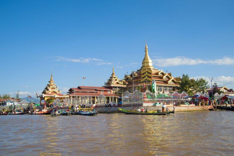 View of the Hpaung Daw U Pagoda Buddhist temple on Inle Lake. Burma royalty free stock photo