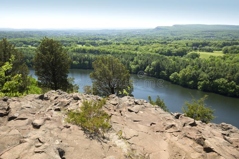 View of Hubbard Reservoir from Chauncey Peak in Meriden, Connect. Crescent Lake, also known as Bradley Hubbard Reservoir, seen from Chauncey Peak with volcanic stock photography
