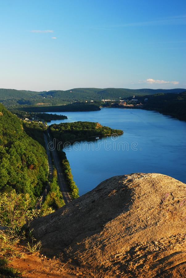 View on the Hudson Highlands. A View from the Hudson Highlands takes in the river and surrounding mountains royalty free stock photo