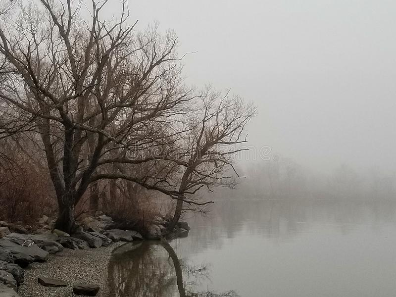 View of the Hudson River in Later Winter, Looking South. A grey and foggy day gives this image a dour mood. To the left are trees and rocks. At the horizon a royalty free stock image