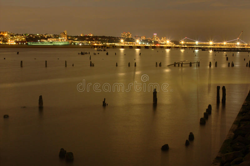 View of the Hudson River and New Jersey at night from Manhattan in New York City stock photo
