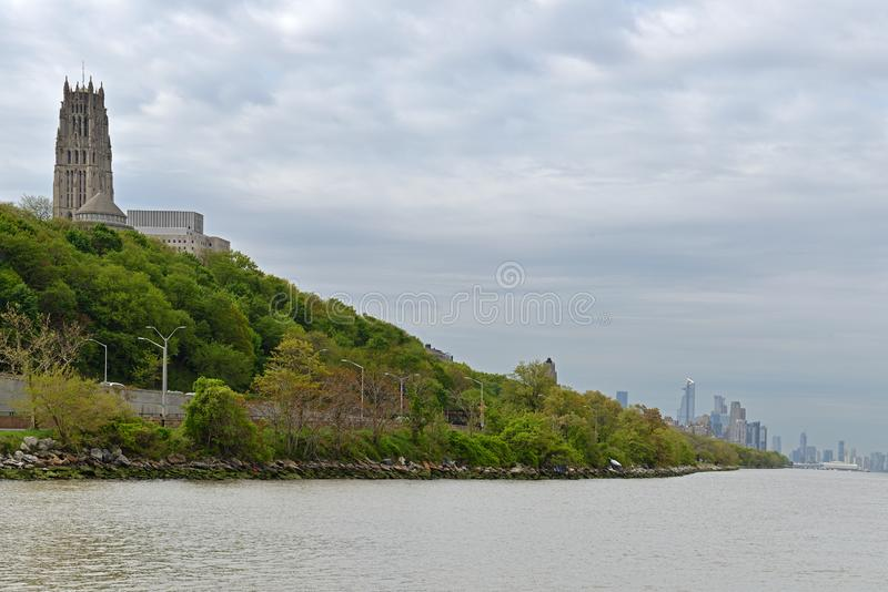 View from Hudson River to Riverside Church and Riverside park, in distance Midtown. New York City, United States.  royalty free stock photos