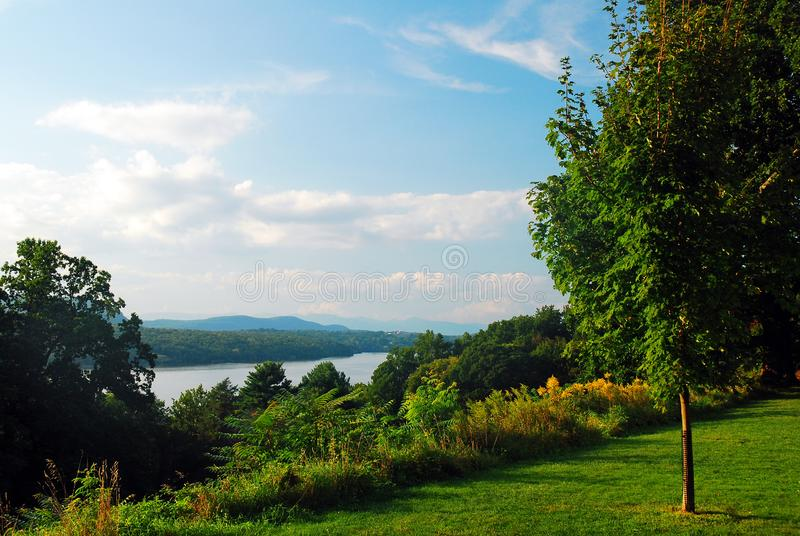 A view of the Hudson River and Valley from Hyde Park, New York. A view of the Hudson River and Valley from the Vanderbilt Mansion Hyde Park, New York stock photos