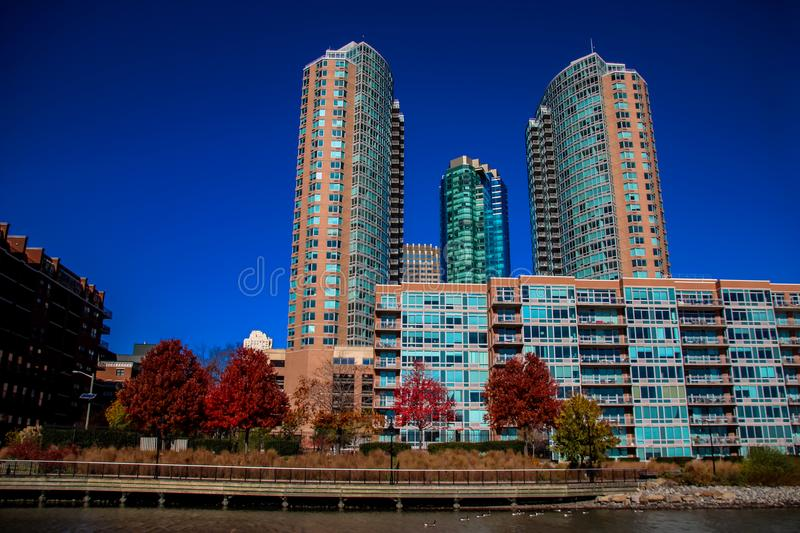 Hudson River Waterfront Walkway in Jersey City, United States. View from Hudson River Waterfront Walkway in Jersey City, United States royalty free stock photos