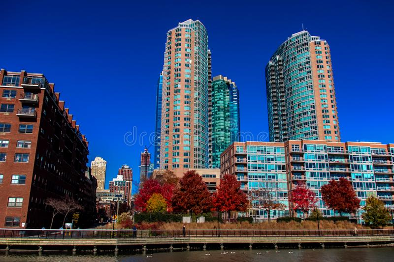 Hudson River Waterfront Walkway in Jersey City, United States. View from Hudson River Waterfront Walkway in Jersey City, United States stock photography