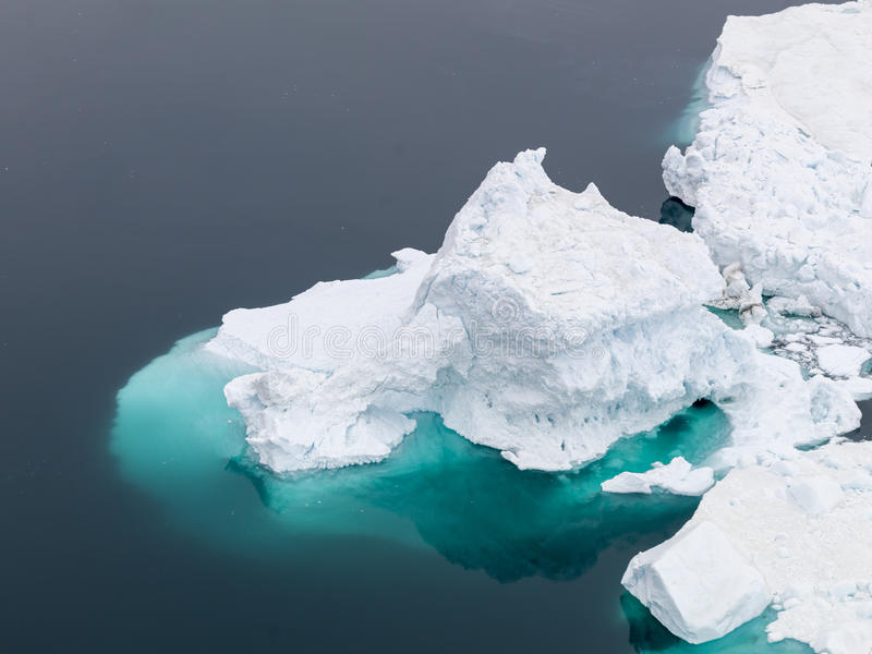 View of the huge icebergs in Greenland royalty free stock photo