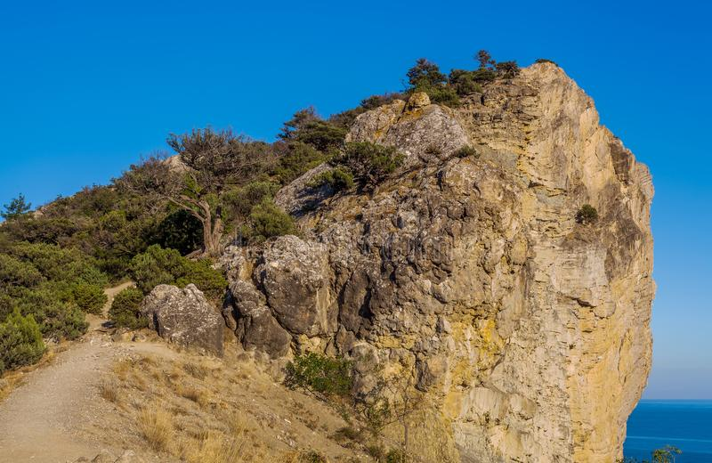 View on huge rock with stony path and covered with small tree th. Icket above Black sea under clean blue sky at sunset in Crimea stock images