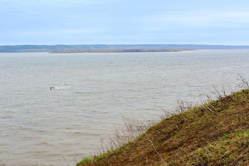 View of the huge Volga River from a high mountain. The biggest river in Europe. An rainy day stock images