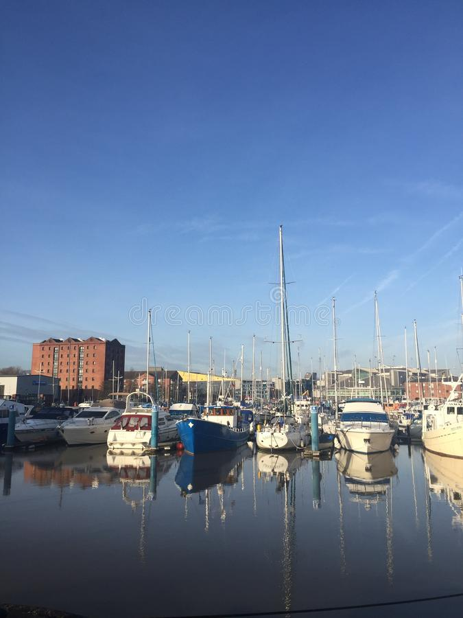 Hull Marina view in a sunny December day 2018 stock photo