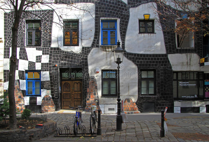 The view of Hundertwasser house in Vienna stock image