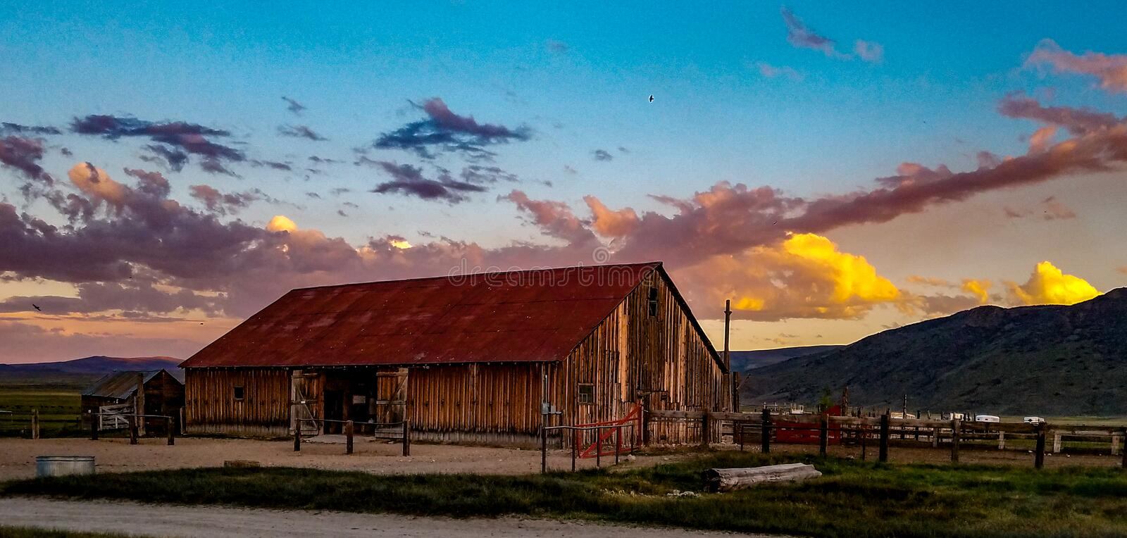 View of The Hunewill Ranch Barn Near Bridgeport, California stock images