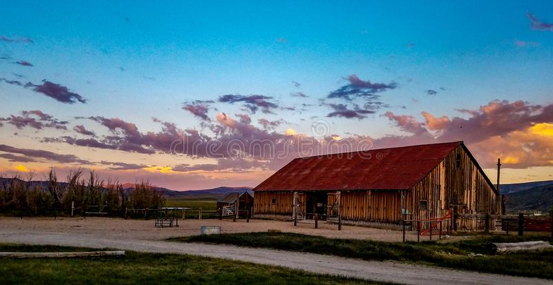 View of The Hunewill Ranch Barn Near Bridgeport, California royalty free stock photography