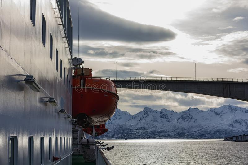 View from hurtigruten ship nordnorge to a fjord bridge. In norway royalty free stock photography