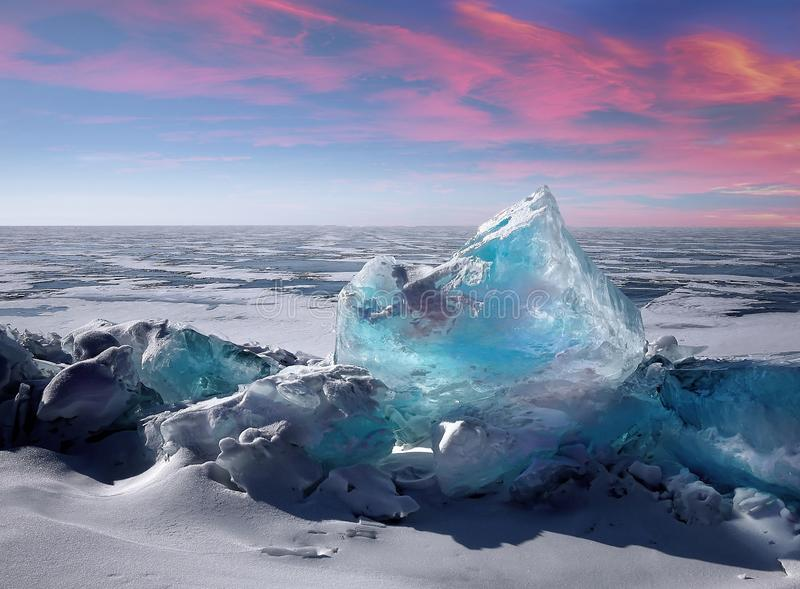 Climate change concept. View of ice in Antarctica and Sunset: climate change concept royalty free stock photos