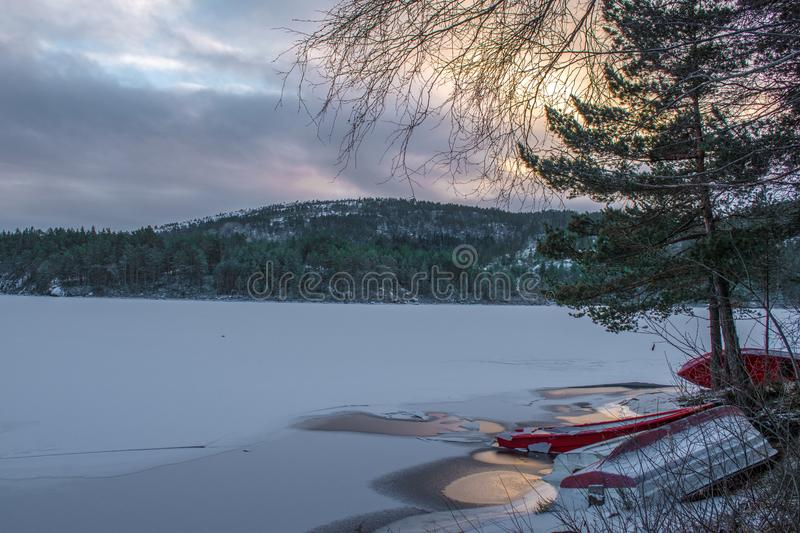 View of ice covered lake and forest in the mountain of southern Norway royalty free stock images