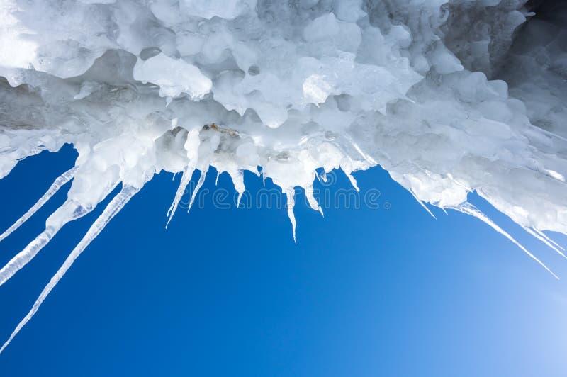 Icicles of Lake Baikal. View of icicles on Lake Baikal, Siberia, Russia royalty free stock photo