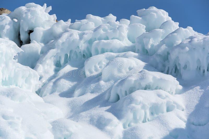 Icicles on Lake Baikal. View of icicles on Lake Baikal, Siberia, Russia royalty free stock image