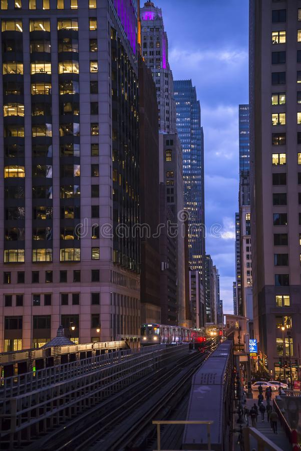 View of the iconic Downtown architecture, Chicago, Illinois, USA stock afbeeldingen
