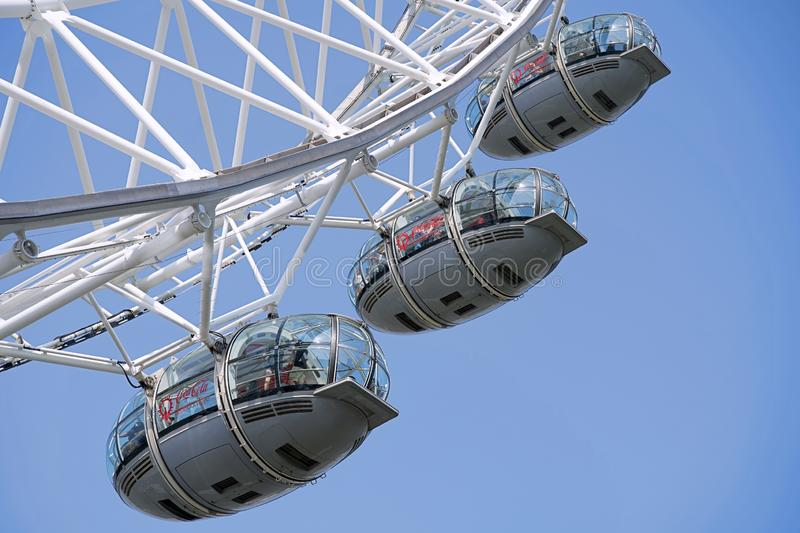The view of the Iconic London Eye captured from directly below, including the wheel and supporting structure, 29th of September 20 stock photos