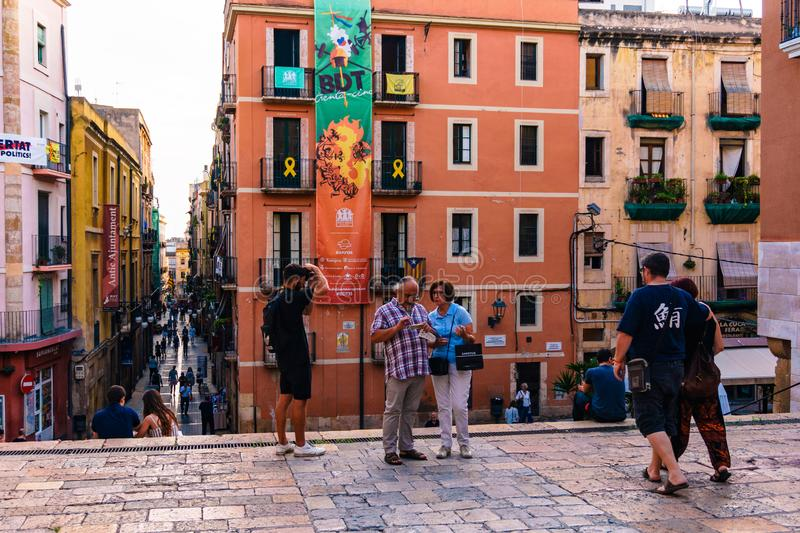 The iconic streets of Tarragona`s Downtown in a sunny day stock images