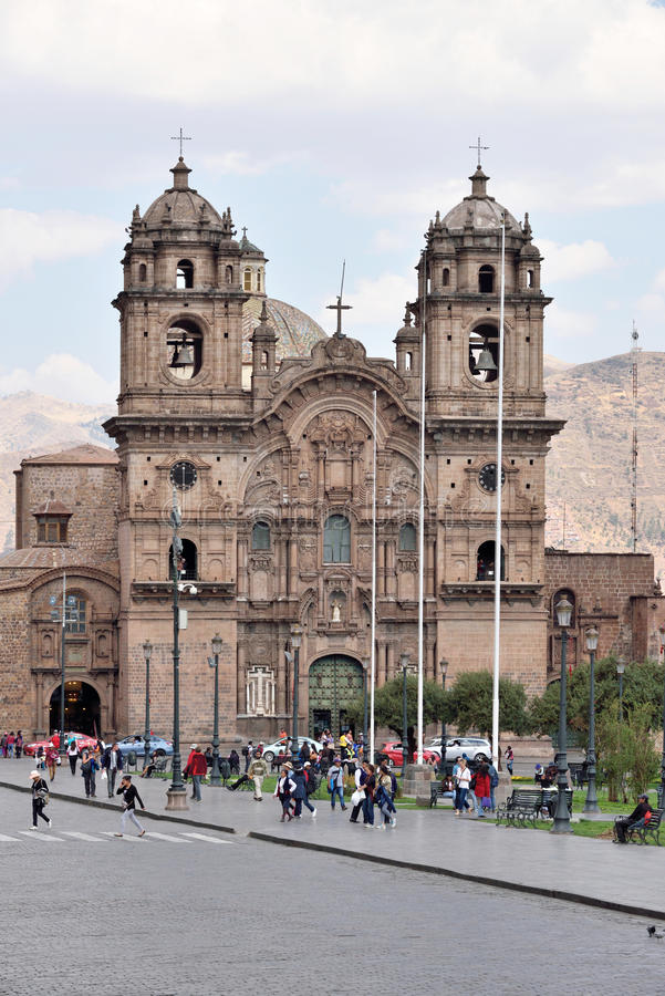 View of Iglesia de la Compania de Jesus in Cusco. Peru on August 31, 2016. In 1983 Cusco was declared a World Heritage Site by UNESCO stock photo