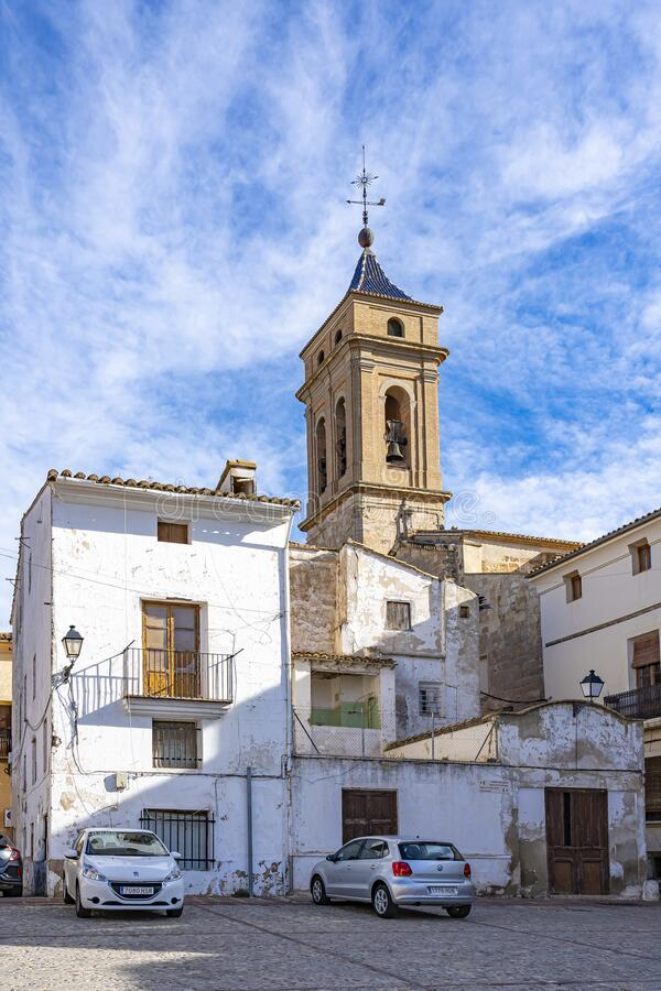 View of Iglesia del Salvador from the Plaza de Albornoz Square in Requena, Spain stock photos