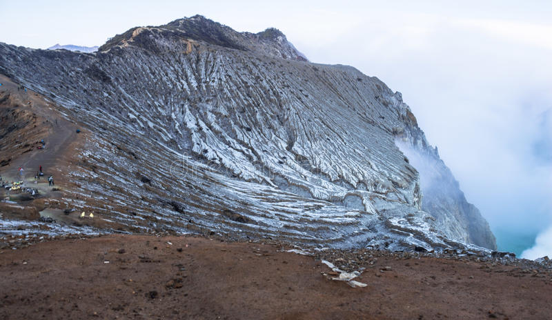 View on the Ijen volcano from above. Java royalty free stock photography