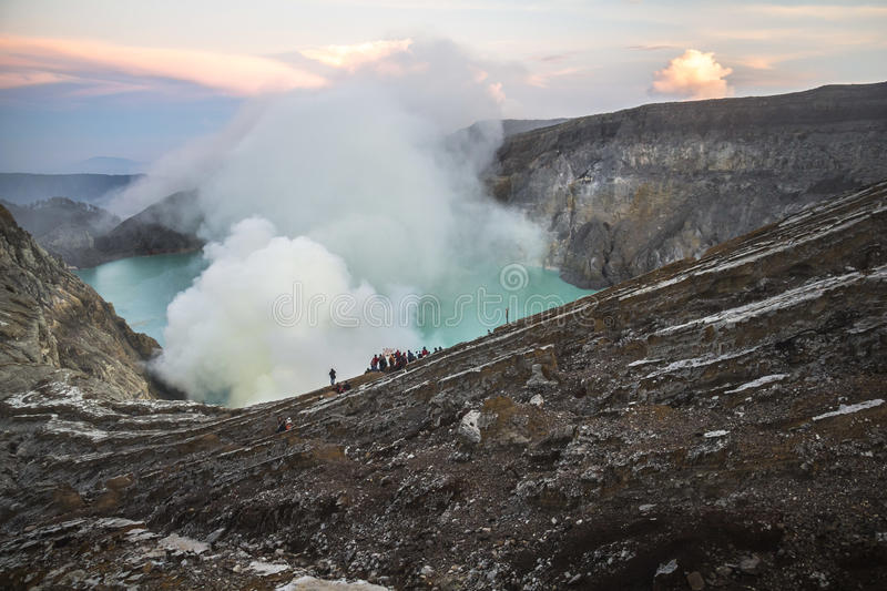 View on the Ijen volcano from above. Java stock photo