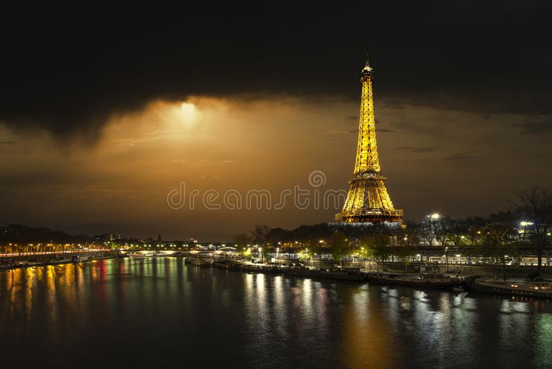 Paris Eiffel Tower at night stock image